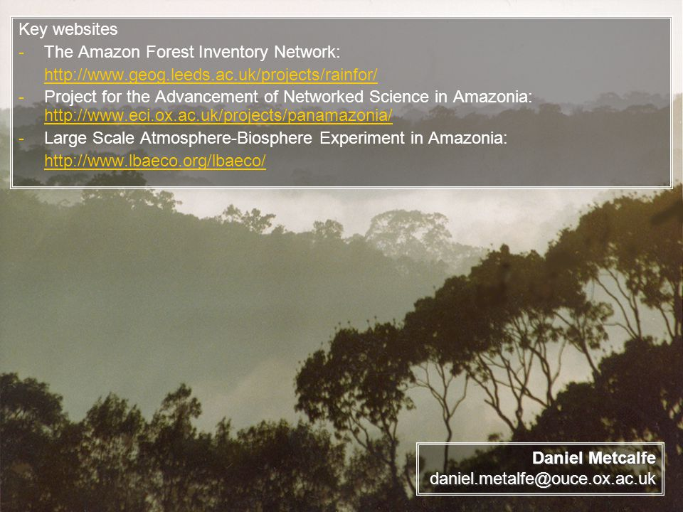 Key websites - -The Amazon Forest Inventory Network: http://www.geog.leeds.ac.uk/projects/rainfor/ - -Project for the Advancement of Networked Science in Amazonia: http://www.eci.ox.ac.uk/projects/panamazonia/ http://www.eci.ox.ac.uk/projects/panamazonia/ - -Large Scale Atmosphere-Biosphere Experiment in Amazonia: http://www.lbaeco.org/lbaeco/ Daniel Metcalfe daniel.metalfe@ouce.ox.ac.uk