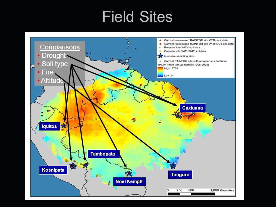 Field Sites Caxiuana Tanguro Noel Kempff Kosnipata Iquitos Tambopata Comparisons Drought Soil type Fire Altitude