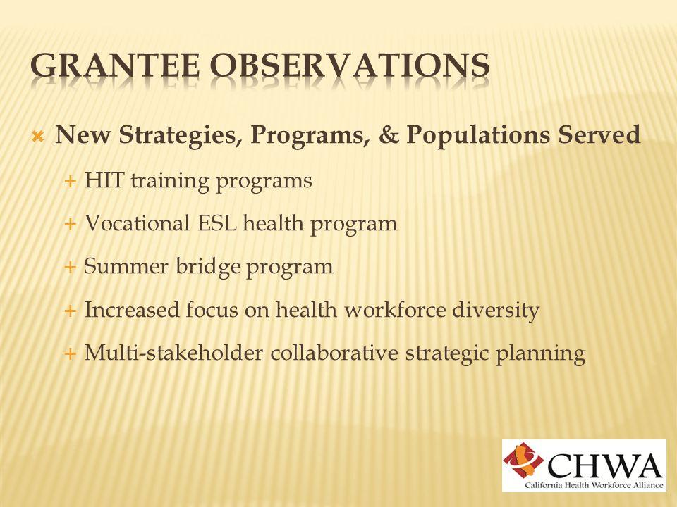  New Strategies, Programs, & Populations Served  HIT training programs  Vocational ESL health program  Summer bridge program  Increased focus on health workforce diversity  Multi-stakeholder collaborative strategic planning