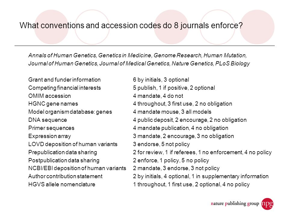 What conventions and accession codes do 8 journals enforce.