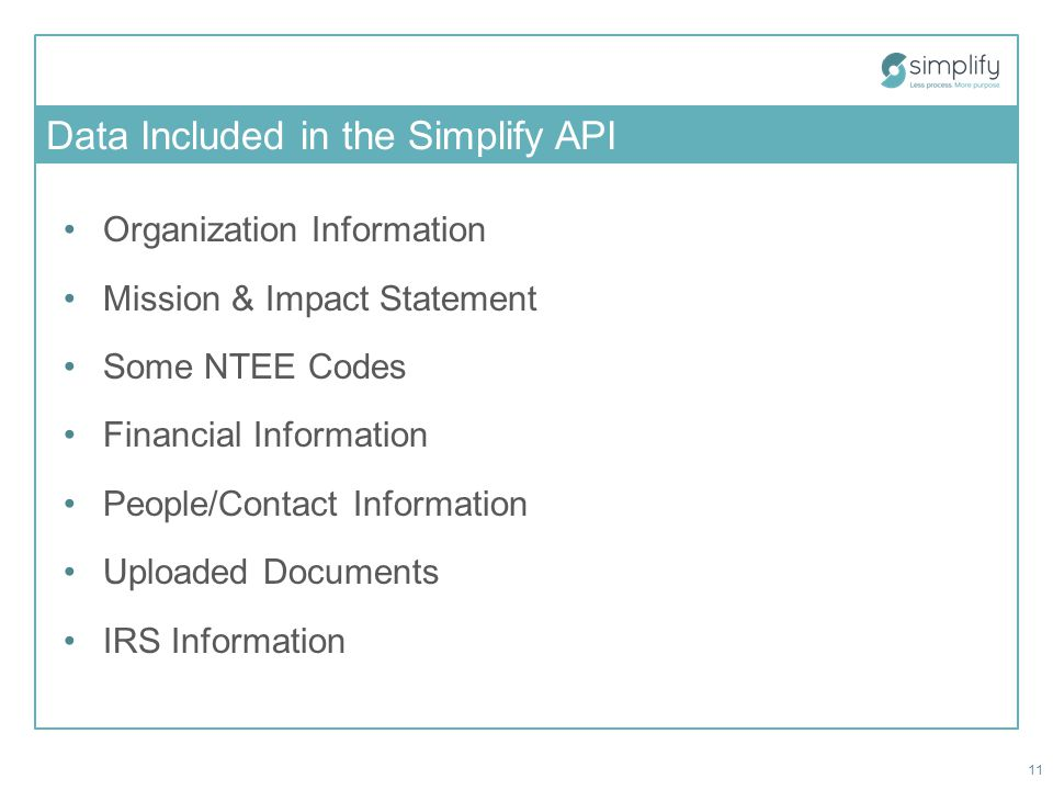 Data Included in the Simplify API Organization Information Mission & Impact Statement Some NTEE Codes Financial Information People/Contact Information