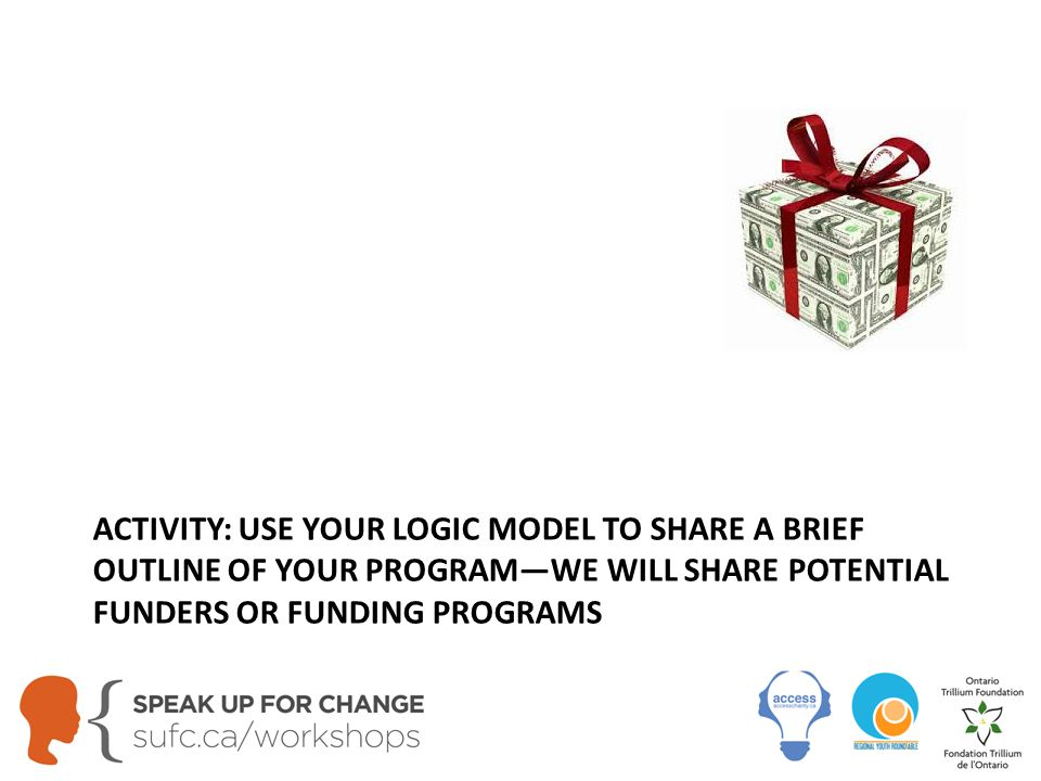 ACTIVITY: USE YOUR LOGIC MODEL TO SHARE A BRIEF OUTLINE OF YOUR PROGRAM—WE WILL SHARE POTENTIAL FUNDERS OR FUNDING PROGRAMS
