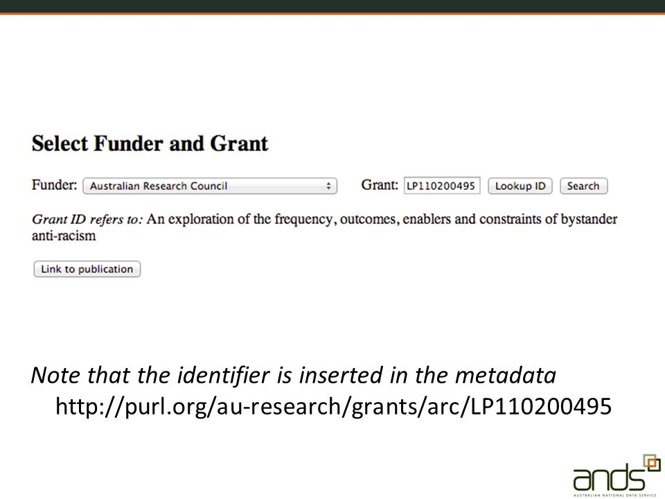 Note that the identifier is inserted in the metadata http://purl.org/au-research/grants/arc/LP110200495