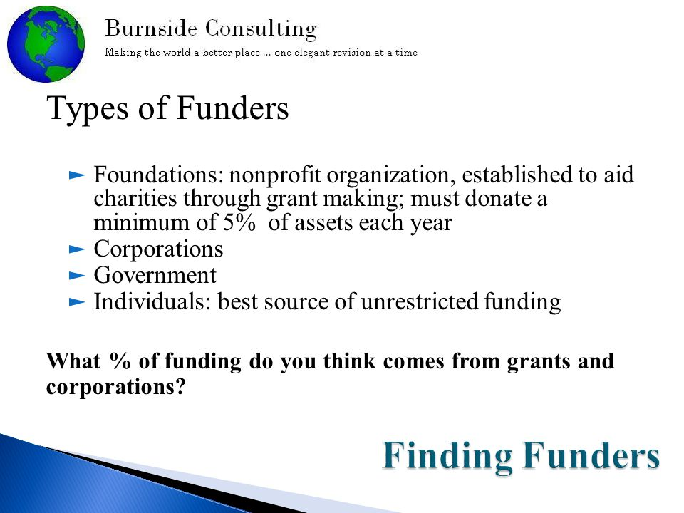 Types of Funders ► Foundations: nonprofit organization, established to aid charities through grant making; must donate a minimum of 5% of assets each year ► Corporations ► Government ► Individuals: best source of unrestricted funding What % of funding do you think comes from grants and corporations?