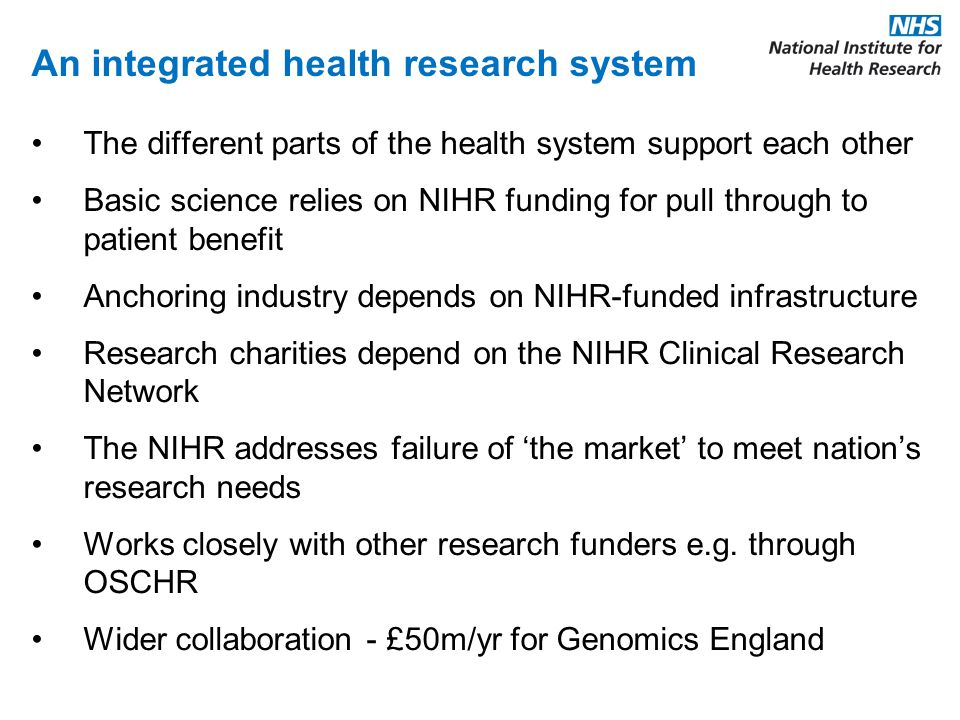 An integrated health research system The different parts of the health system support each other Basic science relies on NIHR funding for pull through to patient benefit Anchoring industry depends on NIHR-funded infrastructure Research charities depend on the NIHR Clinical Research Network The NIHR addresses failure of 'the market' to meet nation's research needs Works closely with other research funders e.g.