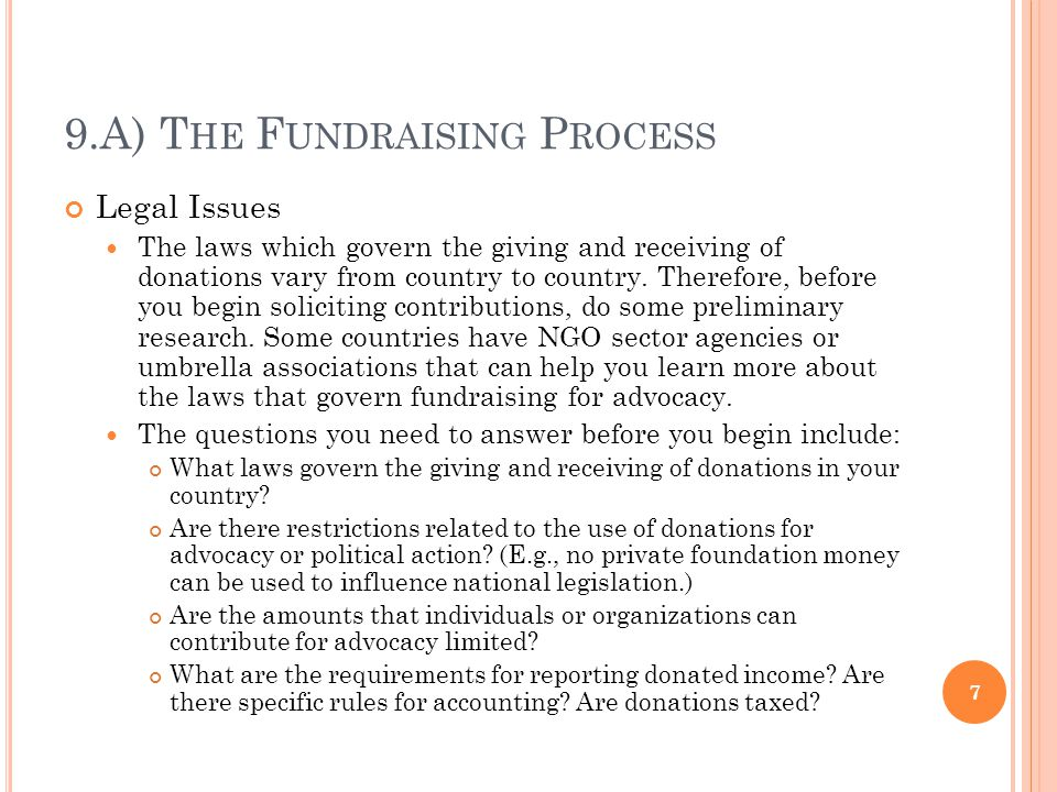 9.A) T HE F UNDRAISING P ROCESS Potential Funders As a fundraiser, you must research any funders who might be willing to contribute to your effort.