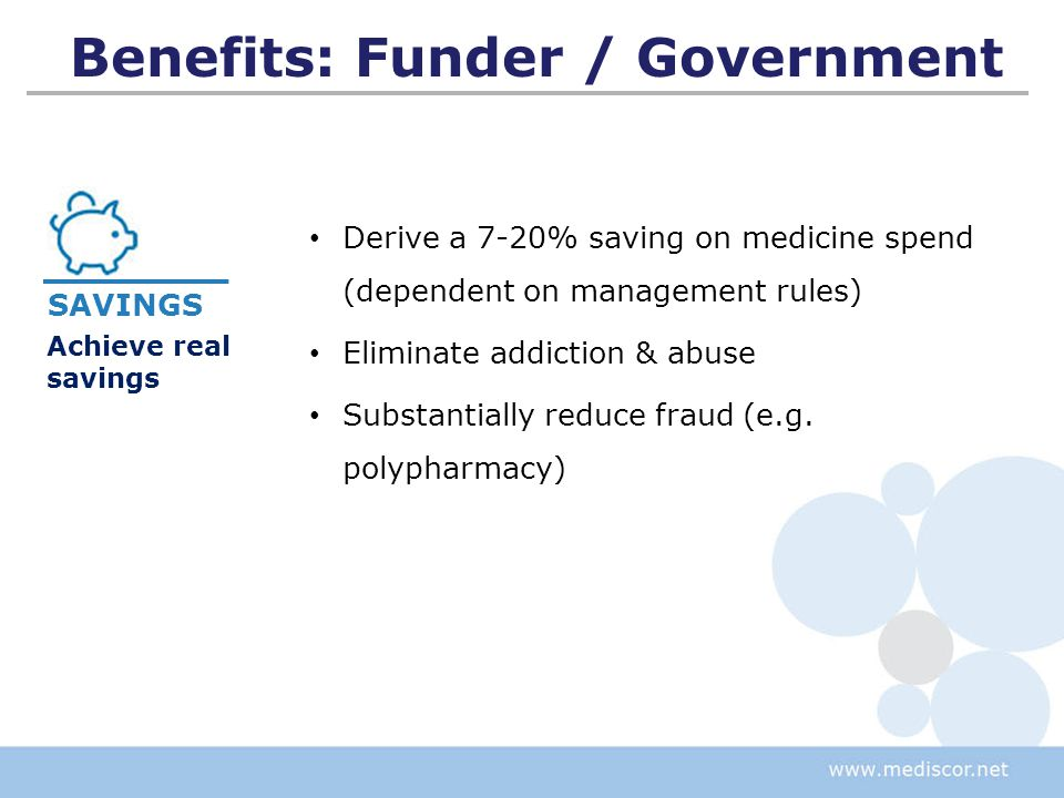 Benefits: Funder / Government Ability to influence dispensing at point of service Ability to influence prescribing at point of service Fast and efficient claims process Accurate claims, processed in real-time (similar to credit card systems) Comprehensive clinical & demographic info Improved relationship with patients and providers SYSTEMS Effective claim submission system