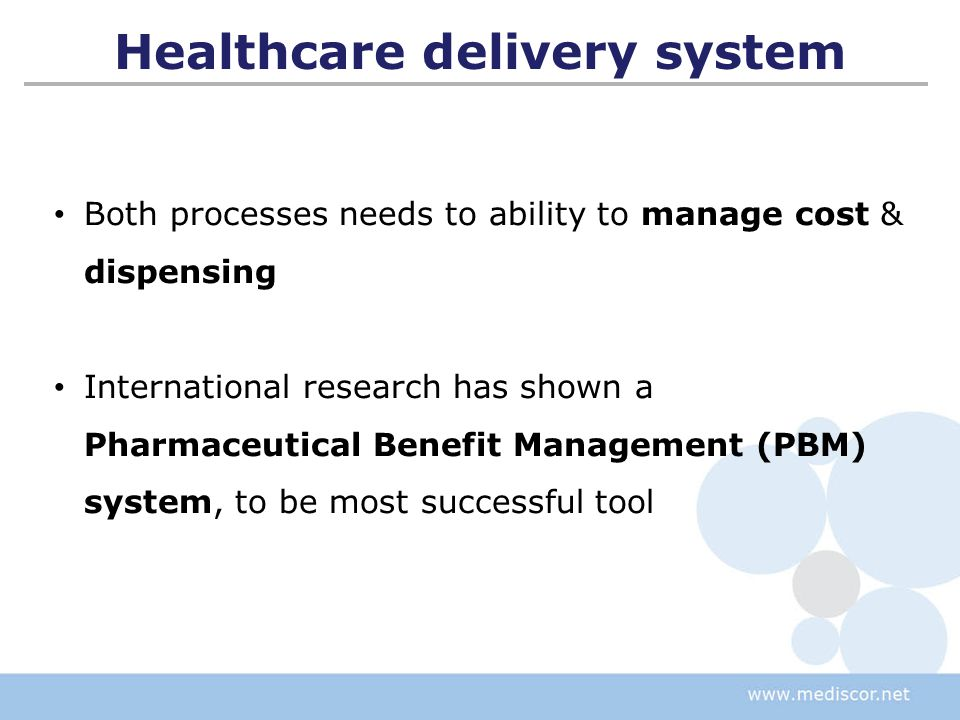 Provides a national, real-time electronic solution for claims processing, applying:  Eligibility rules  Utilisation rules  Clinical rules  Formularies  Pricing rules Provides a claims payment Provides management reports and business intelligence A PBM is a Company that manages the dispensing of medicine Defining a PBM
