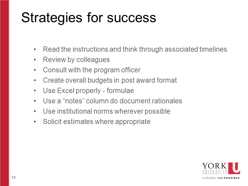 12 Strategies for success Read the instructions and think through associated timelines Review by colleagues Consult with the program officer Create ov