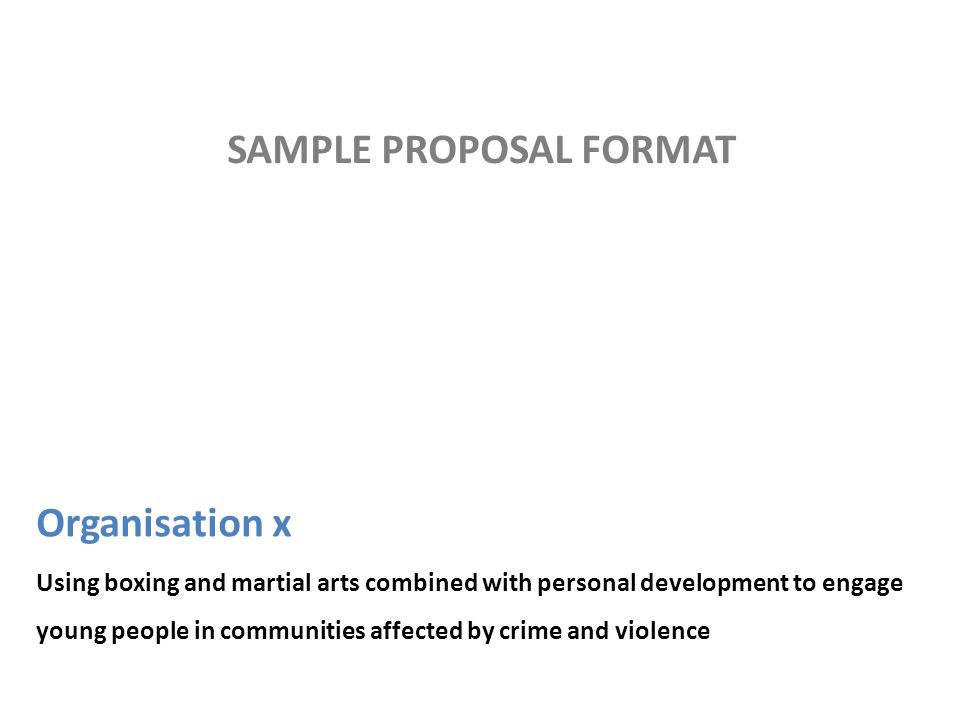 Organisation x Using boxing and martial arts combined with personal development to engage young people in communities affected by crime and violence SAMPLE PROPOSAL FORMAT