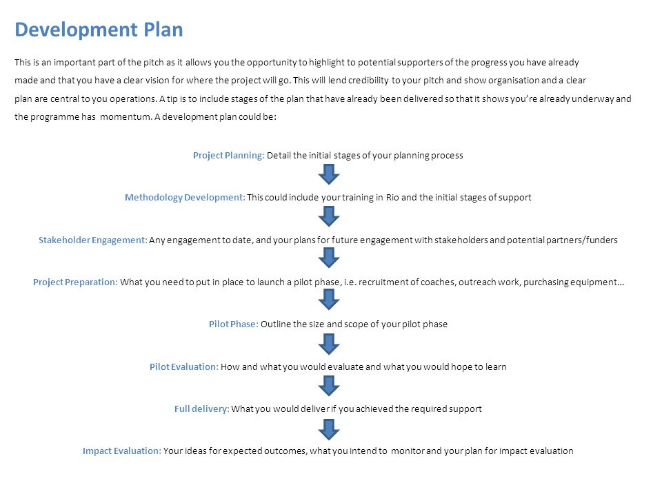 Development Plan This is an important part of the pitch as it allows you the opportunity to highlight to potential supporters of the progress you have already made and that you have a clear vision for where the project will go.