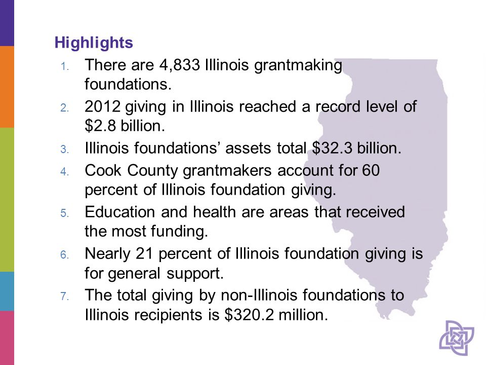 Highlights 1. There are 4,833 Illinois grantmaking foundations.
