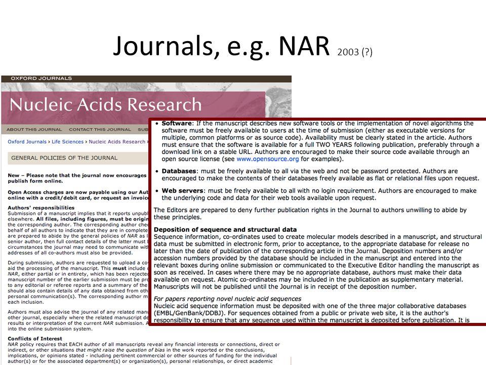 Journals, e.g. NAR 2003 (?)