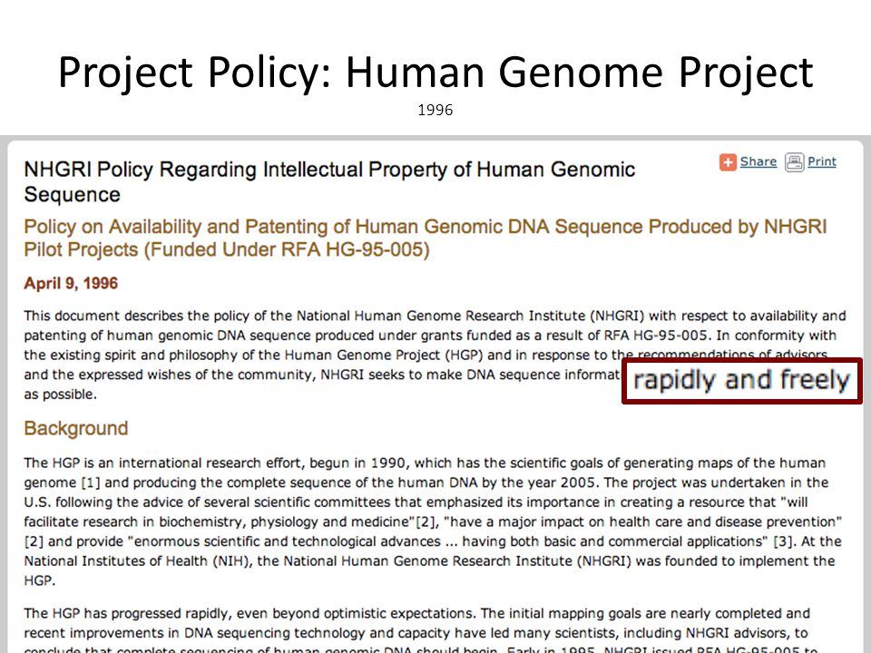 Project Policy: Human Genome Project 1996