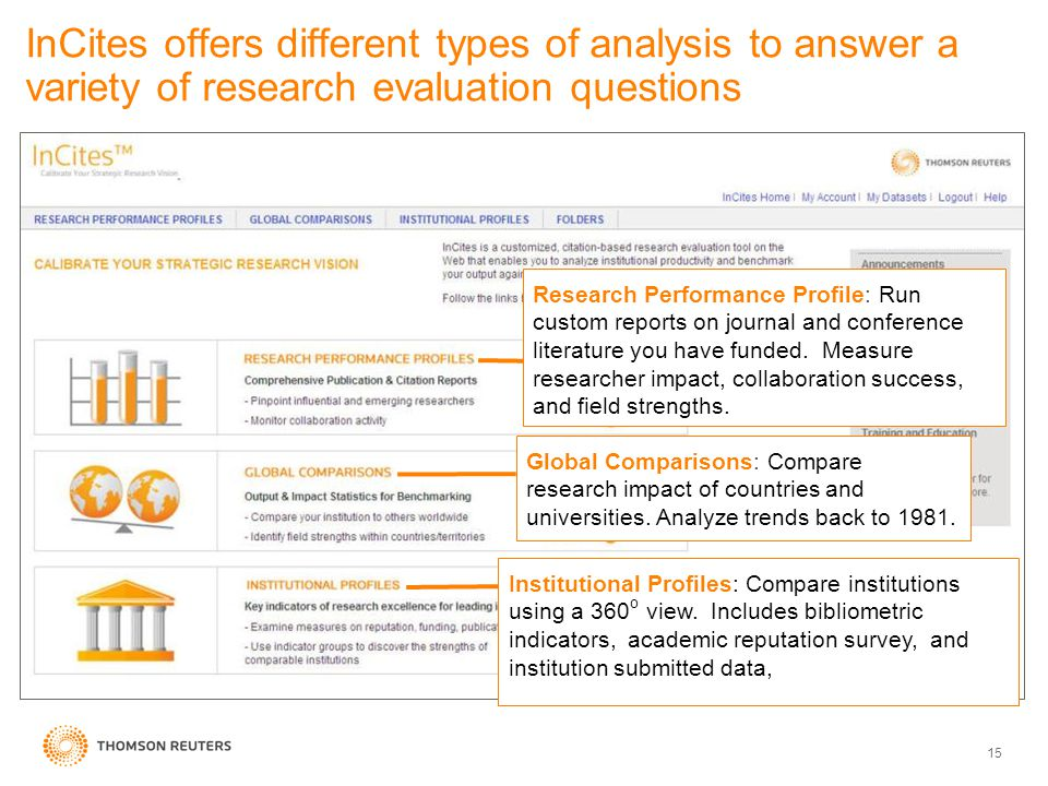 InCites offers different types of analysis to answer a variety of research evaluation questions 15 Global Comparisons: Compare research impact of countries and universities.