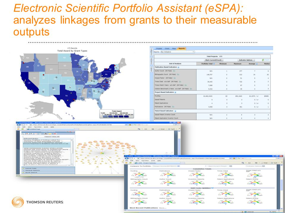 36 Electronic Scientific Portfolio Assistant (eSPA): analyzes linkages from grants to their measurable outputs 36