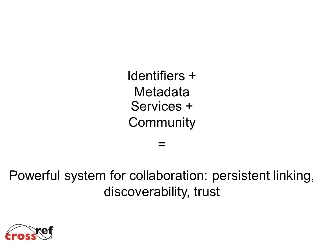 Identifiers + Metadata Services + Community = Powerful system for collaboration: persistent linking, discoverability, trust