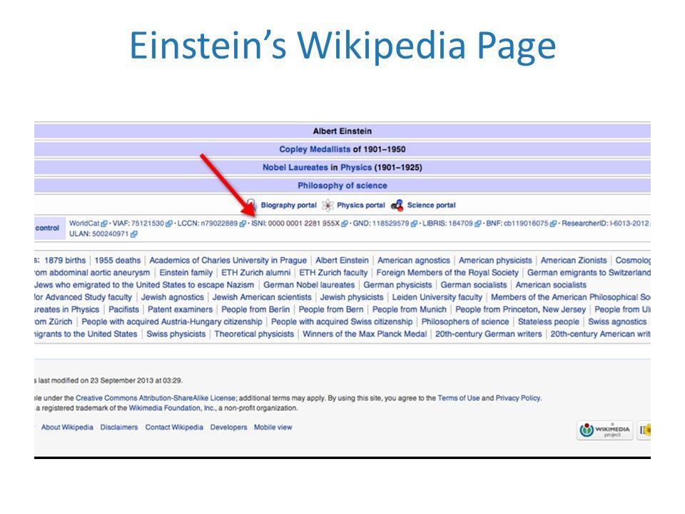 Einstein's Wikipedia Page