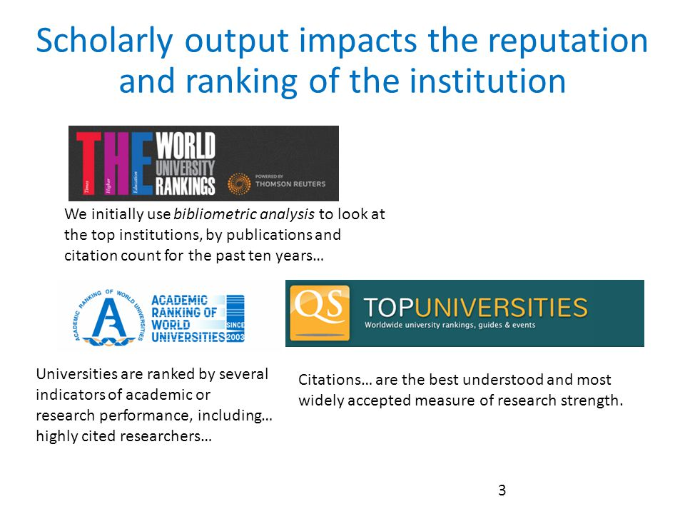 Scholarly output impacts the reputation and ranking of the institution 3 We initially use bibliometric analysis to look at the top institutions, by publications and citation count for the past ten years… Universities are ranked by several indicators of academic or research performance, including… highly cited researchers… Citations… are the best understood and most widely accepted measure of research strength.