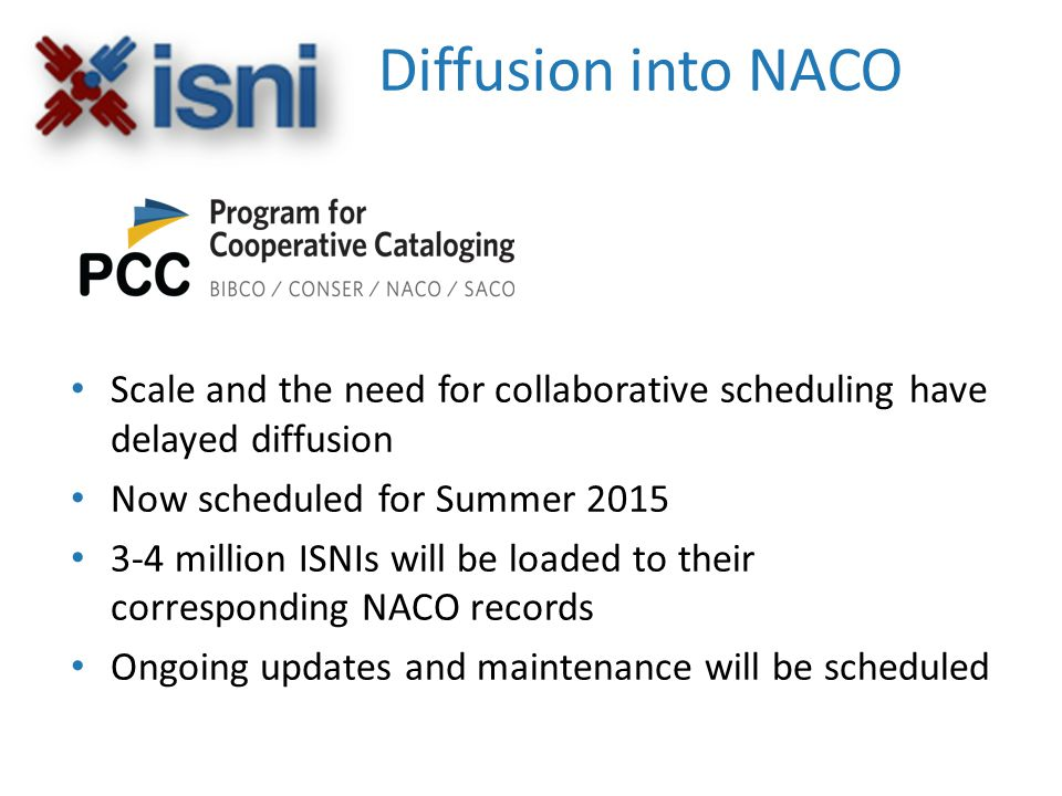 Diffusion into NACO Scale and the need for collaborative scheduling have delayed diffusion Now scheduled for Summer 2015 3-4 million ISNIs will be loaded to their corresponding NACO records Ongoing updates and maintenance will be scheduled