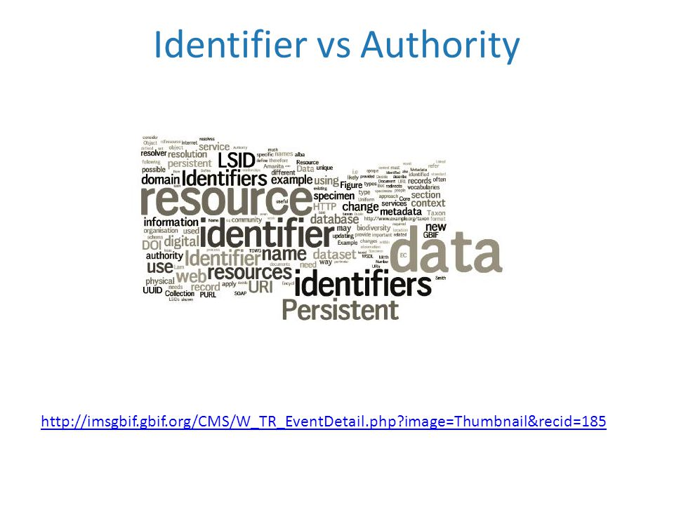 Identifier vs Authority http://imsgbif.gbif.org/CMS/W_TR_EventDetail.php?image=Thumbnail&recid=185