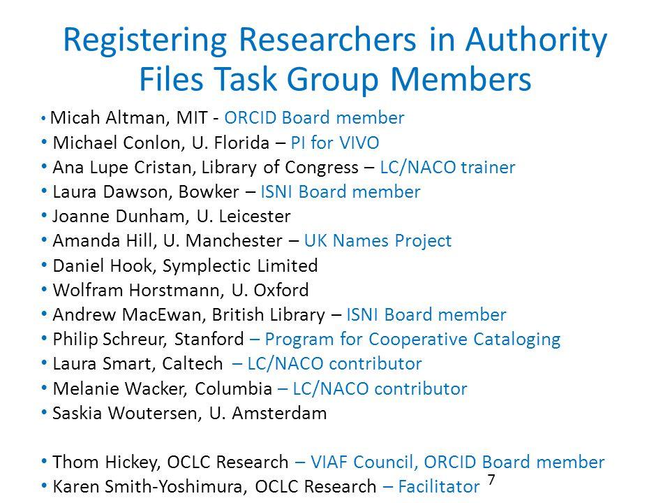 Registering Researchers in Authority Files Task Group Members 7 Micah Altman, MIT - ORCID Board member Michael Conlon, U.