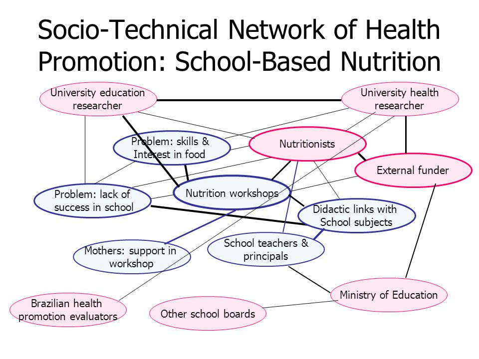Socio-Technical Network of Health Promotion: School-Based Nutrition Problem: feeding children Mothers: time & skills Lunch in schools Problem: lack of success in school Problem: skills & Interest in food Nutritionists Nutrition workshops Didactic links with School subjects External funder School teachers & principals Mothers: support in workshop University health researcher University education researcher Ministry of Education Other school boards Brazilian health promotion evaluators