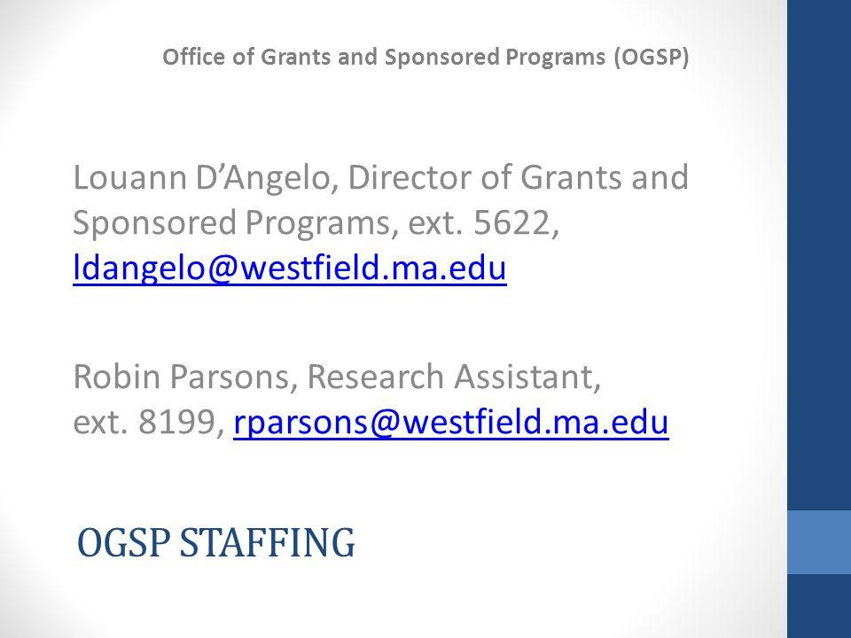 OGSP STAFFING Louann D'Angelo, Director of Grants and Sponsored Programs, ext.
