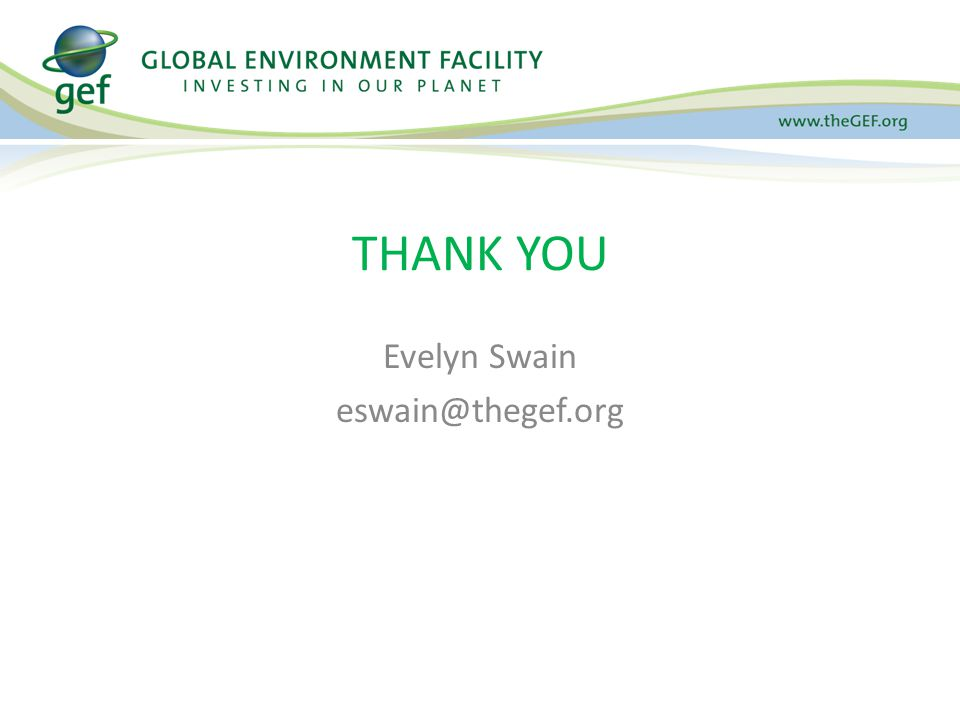 Evelyn Swain eswain@thegef.org THANK YOU