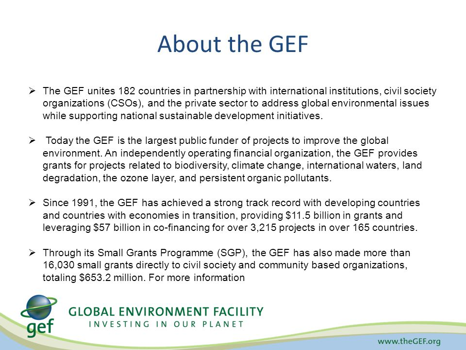 About the GEF  The GEF unites 182 countries in partnership with international institutions, civil society organizations (CSOs), and the private sector to address global environmental issues while supporting national sustainable development initiatives.