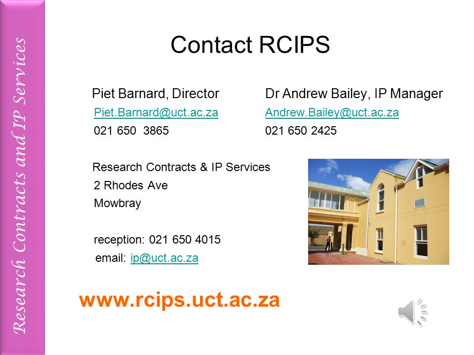 Research Contracts and IP Services Example 1 A funder funds a research project that is supervised and worked on by Prof. X. They pay for all materials