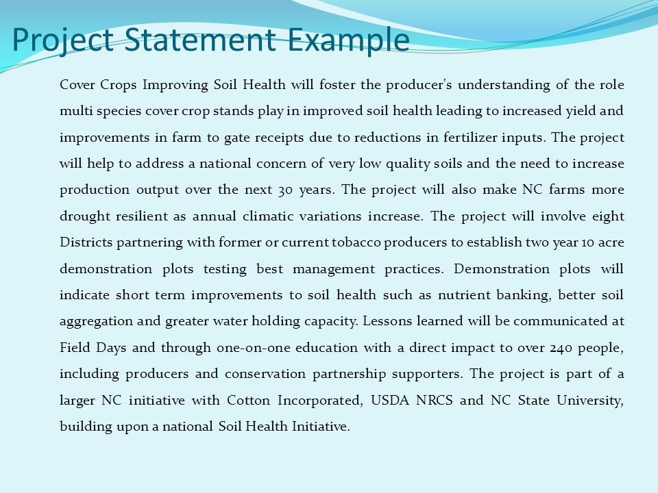Project Statement Example Cover Crops Improving Soil Health will foster the producer's understanding of the role multi species cover crop stands play