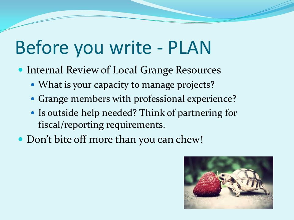Before you write - PLAN Internal Review of Local Grange Resources What is your capacity to manage projects? Grange members with professional experienc