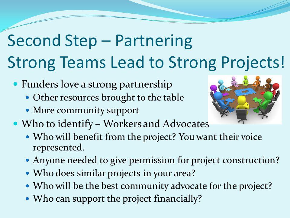 Second Step – Partnering Strong Teams Lead to Strong Projects! Funders love a strong partnership Other resources brought to the table More community s