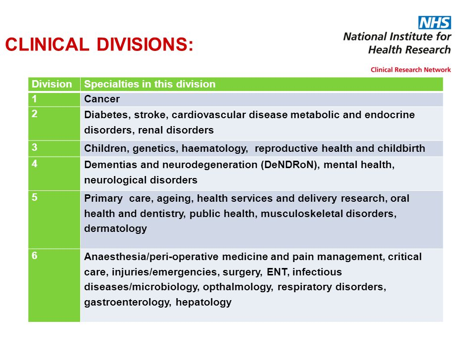 CLINICAL DIVISIONS: DivisionSpecialties in this division 1Cancer 2 Diabetes, stroke, cardiovascular disease metabolic and endocrine disorders, renal d