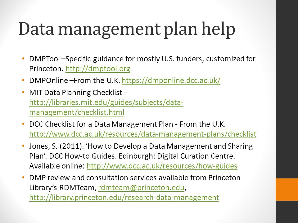 Best Practices Title Creator Identifier Subject Funders Rights Access information Language Dates Location Methodology Data processing Sources List of file names File Formats File structure Variable list Code lists Versions Checksums Slide Credit: Module 1: Overview of Research Data Management New England Collaborative Data Management Curriculum
