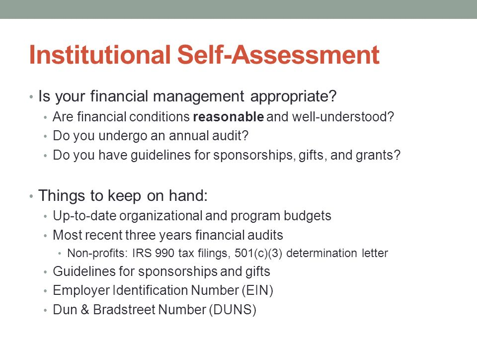 Institutional Self-Assessment Is your financial management appropriate.