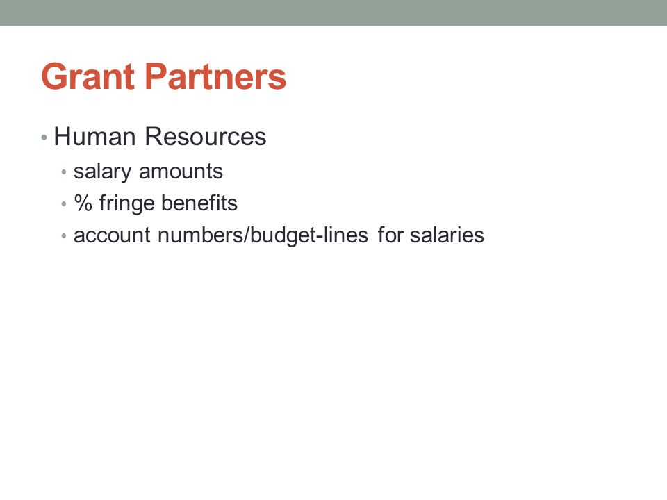 Grant Partners Human Resources salary amounts % fringe benefits account numbers/budget-lines for salaries