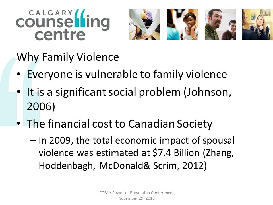 Why Family Violence Everyone is vulnerable to family violence It is a significant social problem (Johnson, 2006) The financial cost to Canadian Society – In 2009, the total economic impact of spousal violence was estimated at $7.4 Billion (Zhang, Hoddenbagh, McDonald& Scrim, 2012) FCSAA Power of Prevention Conference, November 29.