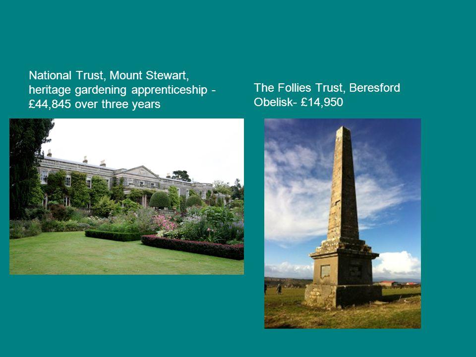 National Trust, Mount Stewart, heritage gardening apprenticeship - £44,845 over three years The Follies Trust, Beresford Obelisk- £14,950