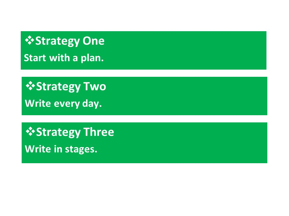  Strategy Two Write every day.  Strategy Three Write in stages.  Strategy One Start with a plan.