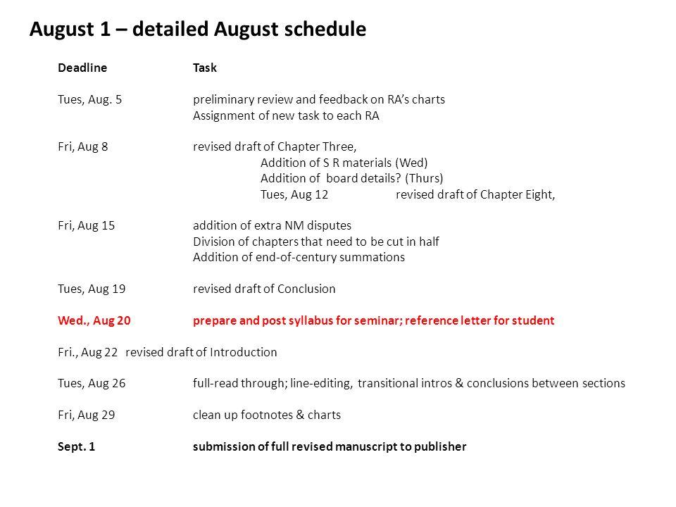 DeadlineTask Tues, Aug.