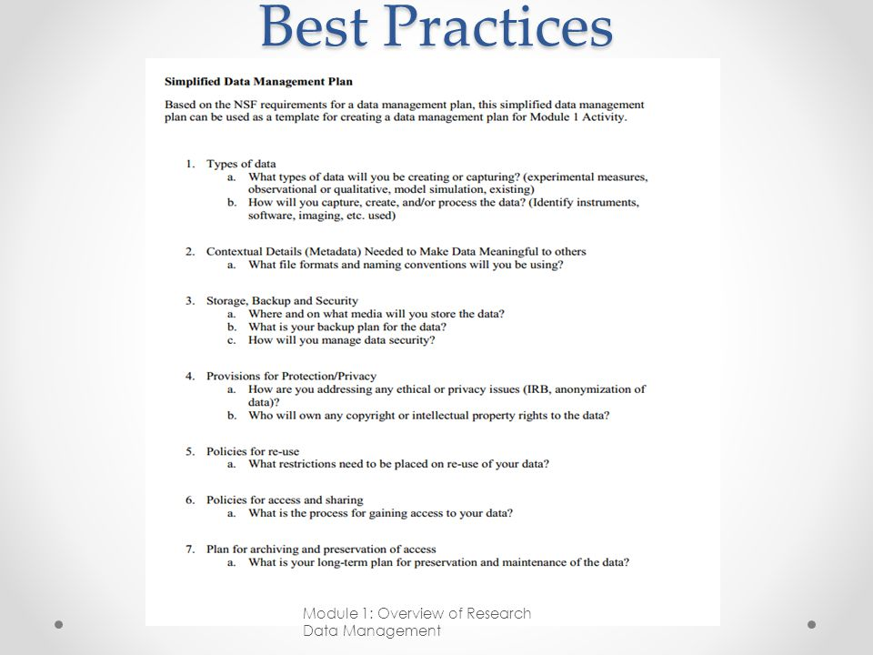 Best Practices Module 1: Overview of Research Data Management