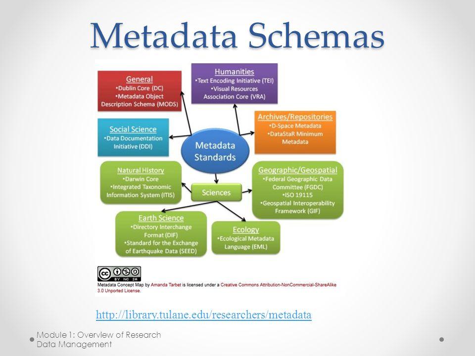 Metadata Schemas Module 1: Overview of Research Data Management http://library.tulane.edu/researchers/metadata
