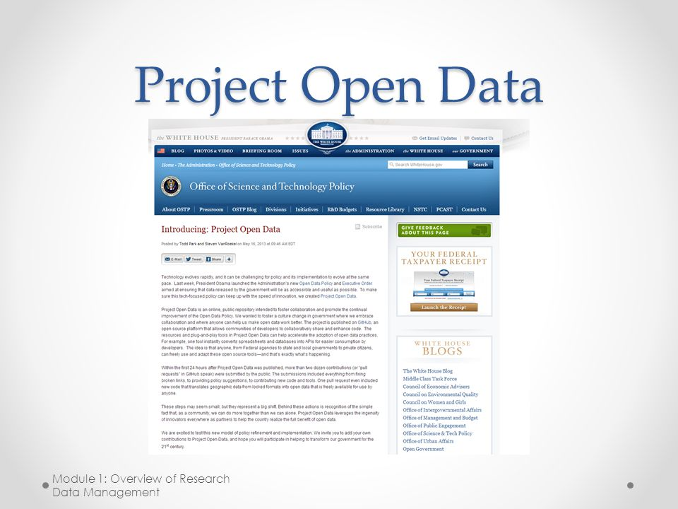 Project Open Data Module 1: Overview of Research Data Management