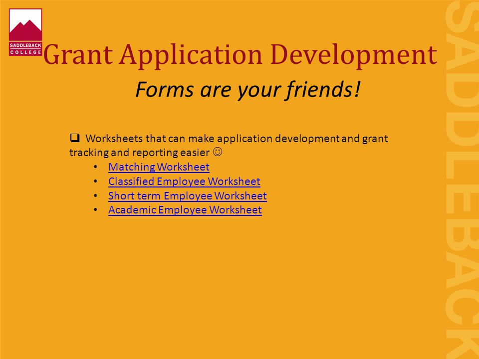 Grant Application Development  Worksheets that can make application development and grant tracking and reporting easier Matching Worksheet Classified