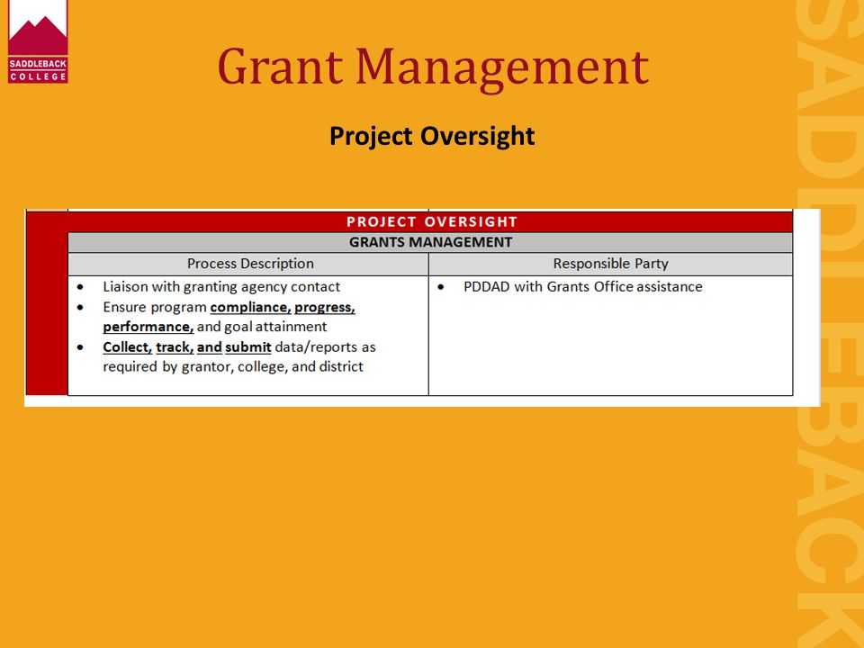 Grant Management Project Oversight