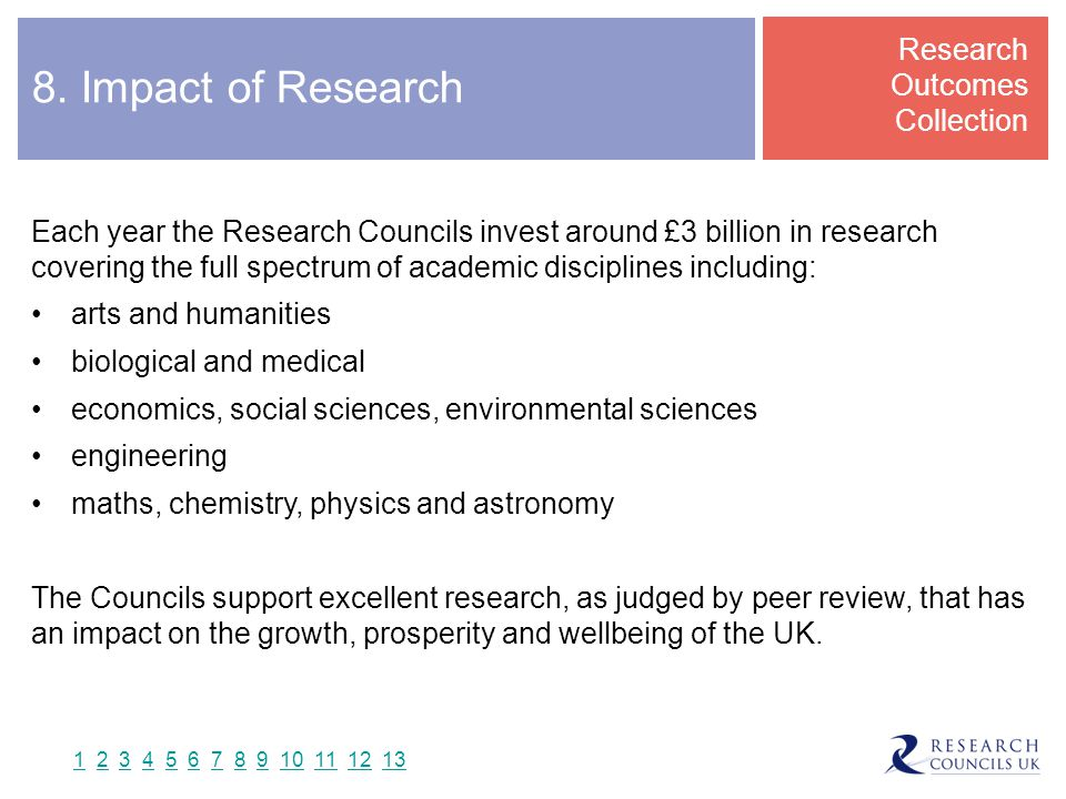 8. Impact of Research Research Outcomes Collection Each year the Research Councils invest around £3 billion in research covering the full spectrum of