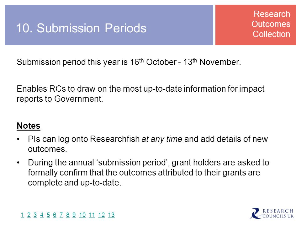 Submission period this year is 16 th October - 13 th November.