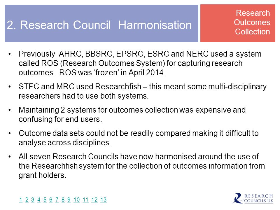 2. Research Council Harmonisation Previously AHRC, BBSRC, EPSRC, ESRC and NERC used a system called ROS (Research Outcomes System) for capturing resea